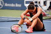NEW YORK, NY - SEPTEMBER 06: Madison Keys of the United States reacts after a play at the net late in the second set against Serena Williams of the United States during their Women's Singles Fourth Round match on Day Seven of the 2015 US Open at the USTA Billie Jean King National Tennis Center on September 6, 2015 in the Flushing neighborhood of the Queens borough of New York City. (Photo by Alex Goodlett/Getty Images) *** Local Caption *** Madison Keys